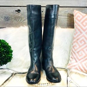 J. Crew Black Leather Tall Pull On Boots 7